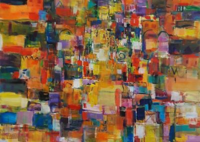 """Dancing Colors"" 48"" x 36"" acrylic by Earl Hamilton"