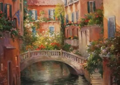 """Venice Reflections"" 35"" x 45"" oil by Sharon Engel"